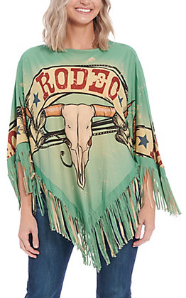Montana West Women's Green Rodeo Poncho