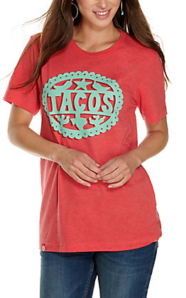 Tumbleweed Texstyles Women's Red with Turquoise Tacos Short Sleeve T-Shirt