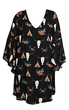 Berry N Cream Women's Black Skull Teepee Dress - Plus Size