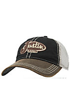 Justin Boots Brown & Black with Cream Mesh Back Logo Cap