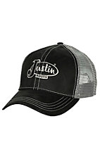 Justin Boots Black Oilcloth with Silver Mesh Back Logo Cap