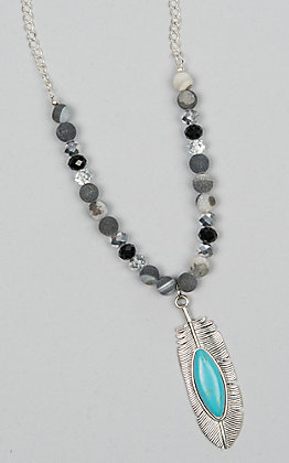 Laminin Peace Matte Black Agate Beaded Necklace