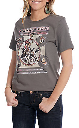 XOXO Art & Co Grey Pendleton Short Sleeve T-Shirt