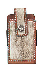 3D Belt Company Brown Leather with Cow Hair Accent Phone Holder with Belt Attachment