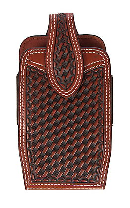 3-D Belt Company Tan Brown Basket Weave Vertical Cell Phone Holster