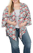 Peach Love Women's Grey Floral Kimono - Plus Size