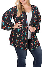 Peach Love Women's Navy Aztec Cactus Print Short Sleeve Kimono - Plus Sizes