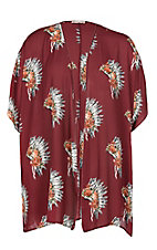 Berry N Cream Women's Burgundy Headdress Kimono - Plus Size