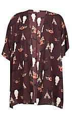 Berry N Cream Women's Wine Skull Teepee Kimono - Plus Size