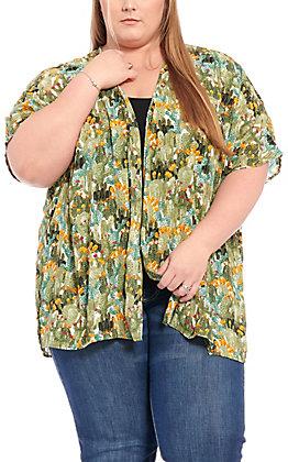 Berry N Cream Women's Green Cactus Print Kimono - Plus size