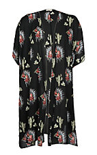 Berry N Cream Women's Black Cactus and Headdress Print Kimono - Plus Size