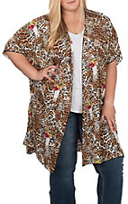 Peach Love Women's Leopard and Skull Print Short Sleeve Kimono - Plus Sizes
