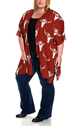 Berry N Cream Women's Rust Floral Skull Print Short Sleeve Kimono - Plus Sizes