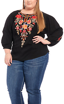 April Sky Women's Black Floral Embroidered Long Sleeve Fashion Top - Plus Size