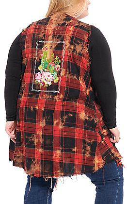 April Sky Women's Red Plaid Tie Dye Cactus Embroidered Vest - Plus Sizes