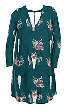 Berry N Cream Women's Teal Skull Print Dress - Plus Size