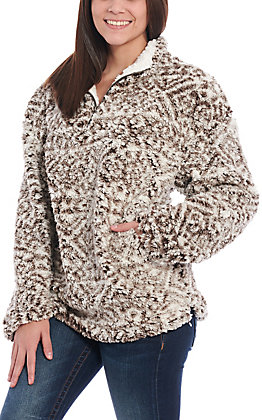 Peach Love Women's Brown Aztec Sherpa Quarter Zip Pullover Jacket