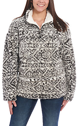 Peach Love Women's Charcoal Aztec Sherpa Pullover Jacket