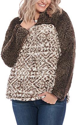 Peach Love Women's Brown Aztec Sherpa Pullover Jacket