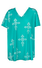 Peach Love Women's Turquoise with White Crosses Short Sleeve V-Neck Casual Knit Tee - Plus Sizes