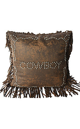 HiEnd Accents Calhoun Faux Leather Studded Cowboy with Fringe Pillow