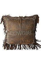 HiEnd Accents Calhoun Faux Leather Studded Cowgirl with Fringe Pillow