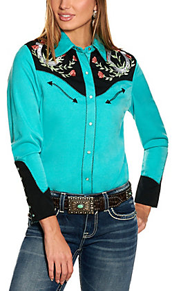 Scully Women's Turquoise and Black with Horseshoes and Roses Embroidery Long Sleeve Retro Western Shirt