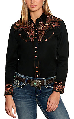 Scully Women's Black with Copper Embroidery Western Shirt