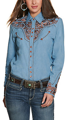 Scully Women's Blue with Brown Embroidery Western Shirt
