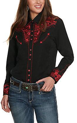 Scully Women's Black and Crimson Embroidered Western Shirt