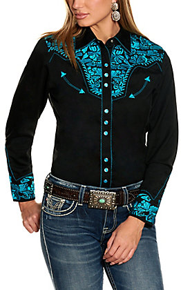 Scully Women's Black with Turquoise Embroidery Western Shirt