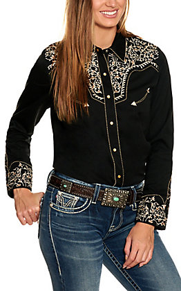 Scully Women's Black with Embroidered Vines Long Sleeve Western Shirt