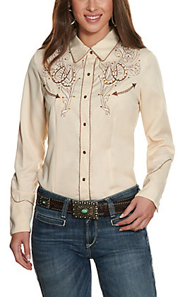 Scully Women's Cream and Coffee Embellished Retro Western Shirt