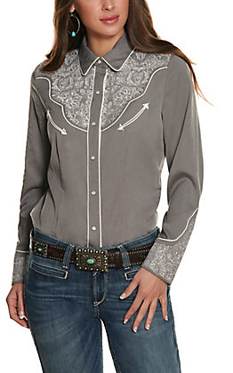 Scully Women's Grey Lace Embroidery Long Sleeve Western Shirt