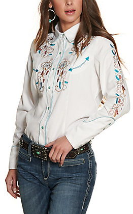 Scully Women's White with Dream Catcher Embroidery Long Sleeve Western Shirt