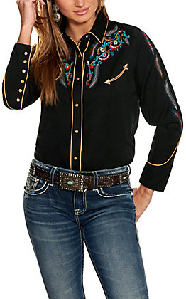 Scully Women's Black with Multi-Colored Embroidery Western Shirt