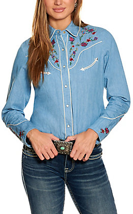 Scully Women's Blue Longhorn and Roses Embroidery Long Sleeve Western Shirt