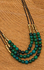Pannee Dirty Teal Stone & Gold Beaded 3-Row Chocolate Silk Thread Necklace