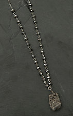 Pannee Silver Drusy Stone Pendant with Hematite Beaded Chain Necklace