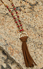 Pannee Red Stone & Gold Bead with Tassel Tan Suede Necklace