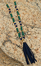 Pannee Teal Crystal, Navy & Gold Bead with Navy Tassel Necklace