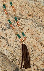 Pannee Teal Crystal & Orange Bead with Brown Suede Tassel Necklace