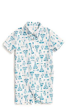 Wrangler Toddler White and Turquoise Southwestern Print Bodysuit Shorts