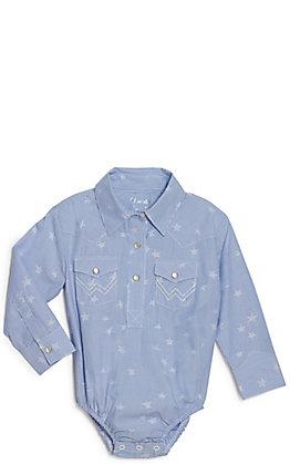 Wrangler Toddler Blue and White Stars and Stripes Western Shirt Bodysuit