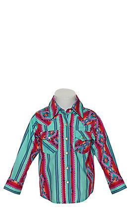 Wrangler Toddler Girl's Blue Aztec Print Long Sleeve Western Shirt
