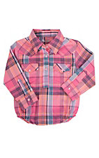 Wrangler Infant Pink and Orange Plaid Western Shirt Onesie