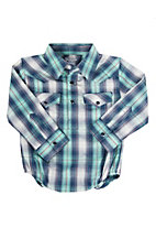 Wrangler Infant Navy and Seafoam Plaid Western Shirt Onesie