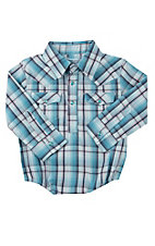 Wrangler Infant Turquoise Plaid Western Snap Shirt Onesie