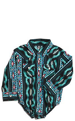Wrangler Boys' Teal and Black Aztec Print Long Sleeve Western Onesie