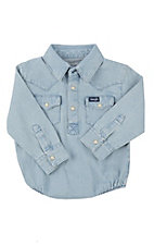 Wrangler Infant Faded Blue Western Snap Shirt Onesie